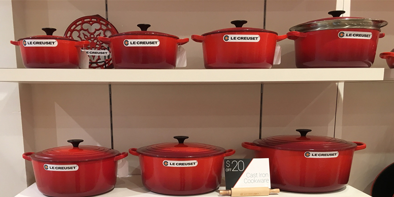 Le Creuset Cast iron enamel cookware in Cadmium red color